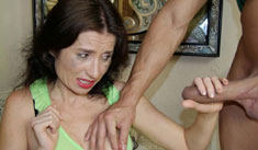 Hot mom Tatiana was forced to jerk huge cock